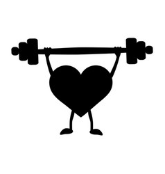 Heart with a barbell in the hands black vector