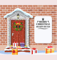 House door decoration for the christmas vector