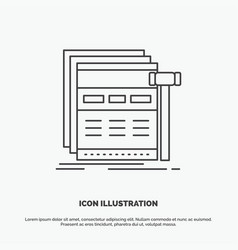 Internet page web webpage wireframe icon line vector