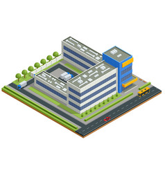 Isometric textile industry manufacturing factory vector