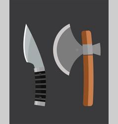 knife weapon dangerous metallic ax vector image