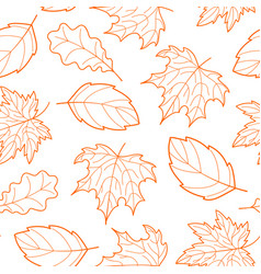 leaves seamless outline orange vector image