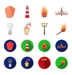 led light street lamp matchlight source set vector image