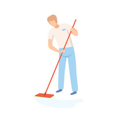 male professional cleaner mopping floor vector image