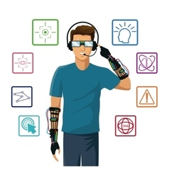 Man wearing reality glasses wired glove interface vector