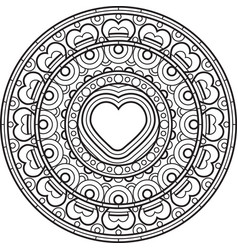 Mandala with heart decorative round ornament vector