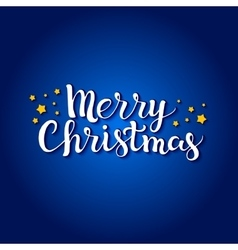 Merry Christmas lettering on a blue background vector image