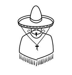 Mexican in sombrero on white background vector