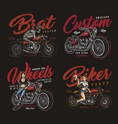 motorcycle vintage prints vector image