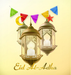 Muslim holiday Eid Al-Adha Greeting card with lamp vector