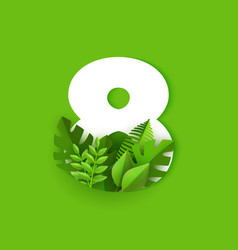 number eight with fresh vector image