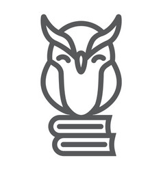Owl on books line icon e learning and education vector