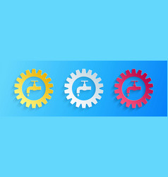 Paper cut gearwheel with tap icon isolated on blue vector