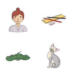 paws teacher and other web icon in cartoon style vector image