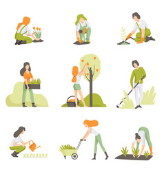 People caring for plants in the garden set men vector