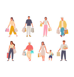 people with shopping set characters with paper vector image