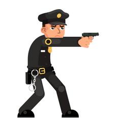 policeman gun weapon attack shoot character vector image