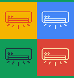 Pop art line air conditioner icon isolated vector