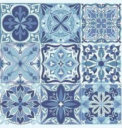 portuguese azulejo tiles seamless pattern vector image