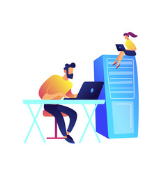 Programmers working with laptops and server rack vector