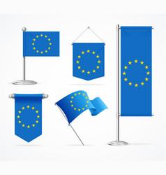 realistic 3d detailed europe flag banner set vector image