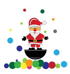 santa claus and balloons divide christmas presents vector image