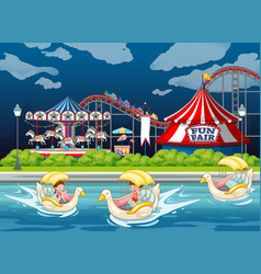 Scene background design with kids in paddle boats vector