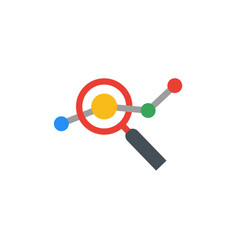 Seo flat design logo with magnifying glass vector