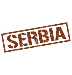Serbia brown square stamp vector