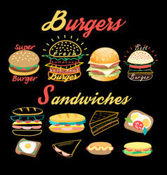 Set bright burgers and sandwiches vector