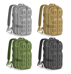 Set military backpacks vector