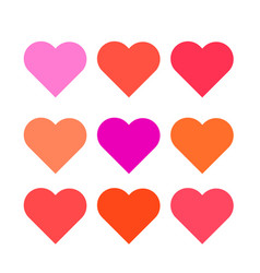 Set multi colored hearts of the correct form vector