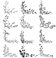 set of floral corners on white background vector image
