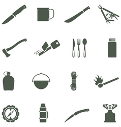 Set of icons with camping equipment and vector image