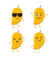 set of mango characters in different expressions vector image
