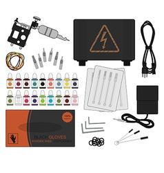 Set of professional tattoo equipment vector