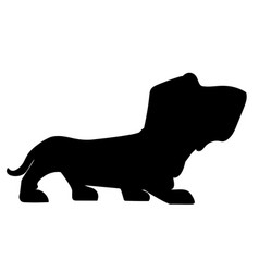 silhouette basset-hound vector image