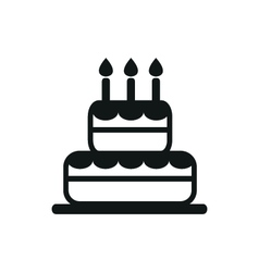 simple black cake icon on white background vector image