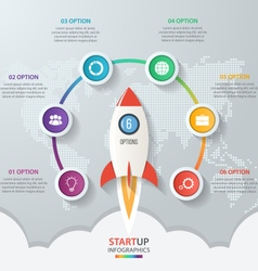Startup circle infographics with rocket 6 options vector image