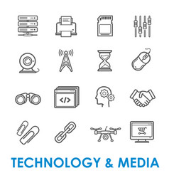 technology and media thin line icons vector image