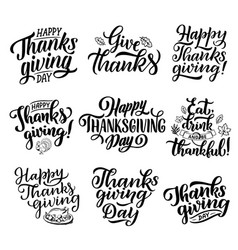 thanksgiving holiday calligraphy lettering vector image