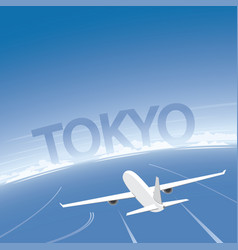 Tokyo skyline flight destination vector