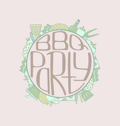 unique with a hand-drawn lettering for the bbq vector image