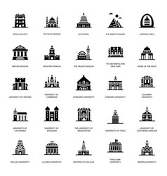 University buildings glyph icons vector