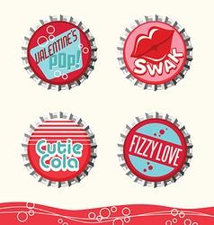 Valentine bottle caps 1 vector
