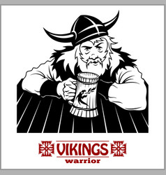 viking the cheerful viking with beer mug in hand vector image