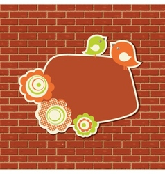 Vintage frame with two birds on the brick wall vector image