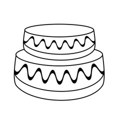 wedding cake dessert outline vector image