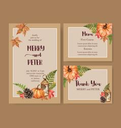 Wedding invitation watercolour design with orange vector