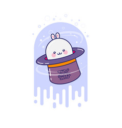 White magic rabbit in the hat vector